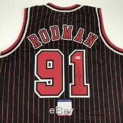 Autographié / Signé Dennis Rodman Chicago Basketball Jersey Psa Pinstripe / Adn Coa