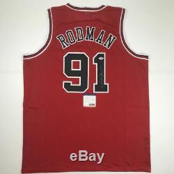 Autographié / Signé Dennis Rodman Chicago Red Basketball Jersey Psa / Adn Coa Auto