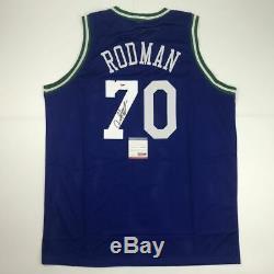 Autographié / Signé Dennis Rodman Dallas Bleu Basketball Jersey Psa / Adn Coa Auto