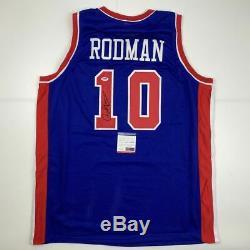 Autographié / Signé Dennis Rodman Detroit Bleu Basketball Jersey Psa / Adn Coa Auto