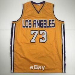 Autographié / Signé Dennis Rodman Los Angeles La Yellow Jersey Psa / Adn Coa Auto