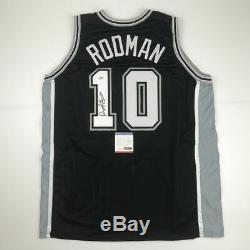 Autographié / Signé Dennis Rodman San Antonio Black Basketball Jersey Psa / Adn Coa