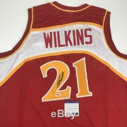 Autographié / Signé Dominique Wilkins Atlanta Basketball Rouge Jersey Psa / Adn Coa