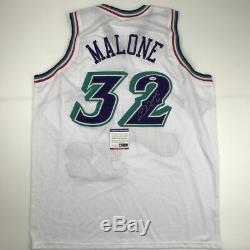Autographié / Signé Karl Malone Utah Blanc Basketball Jersey Psa / Adn Coa Auto