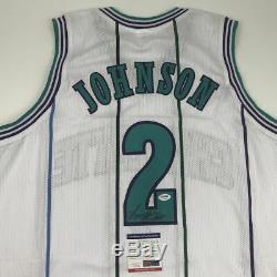 Autographié / Signé Larry Johnson Charlotte Blanc Basketball Jersey Psa / Adn Coa