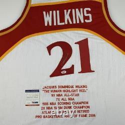 Autographié/signé Dominique Wilkins Atlanta White Stat Jersey Psa/dna Coa