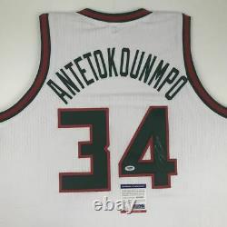 Autographié/signé Giannis Antetokounmpo Milwaukee Retro Jersey Psa/dna Coa Auto