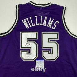 Autographié/signé Jason Williams Sacramento Purple Jersey Psa/adn Coa Auto