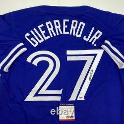 Autographié/signé Vladimir Vlad Guerrero Jr Toronto Blue Jersey Psa/dna Coa