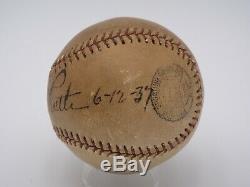 Babe Ruth 12/06/37 Psa / Adn Certifié Authentique Unique Signé Baseball Autograph