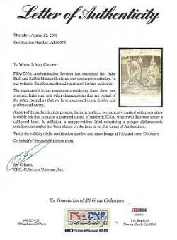 Babe Ruth Psa / Adn Certifié Authentique Fiche Signé Autographiés Mint Yankees