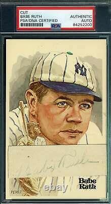 Babe Ruth Psa Adn Et Jsa Coa Autograph De La Main Signée Perez Steele Cutcard
