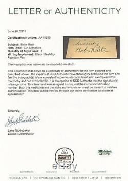 Babe Ruth Psa / Dna Certifié Authentique Feuille Signée Autographiée Mint Yankees