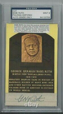 Babe Ruth Psa / Dna Certifié Classé 9 Mint Signé Cut Hof Carte Postale Autographiée
