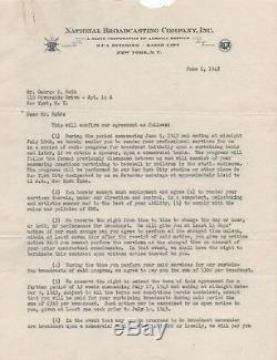 Babe Ruth Signé Nbc Contrat De 1943 Psa / Dna Classé 10 Mint Certifié Autographié