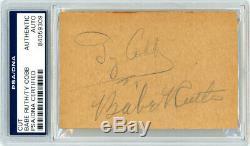 Babe Ruth & Ty Cobb, Signature Autographiée, Coupe 2.5x4 Signature # Psa / Adn # 84059309