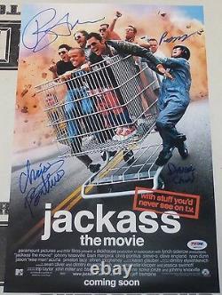 Bam Margera Chris Pontius +2 Cast Signé 11x17 Jackass Affiche De Cinéma Psa/adn Coa