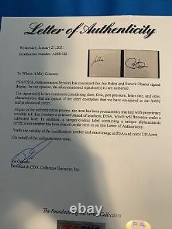 Barack Obama Joe Biden Signé Autographed Framed Cut Psa /dna Authentication Wow
