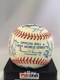 Belle Équipe Atlanta Braves 1991 Signé Dna Baseball World Series Psa Coa