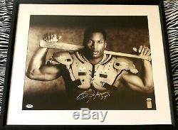 Bo Jackson Autographed Signé Knows Bb / Fb Nike Affiche 16x20 Photo Encadrée Psa / Adn
