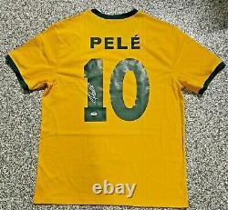 Brésil Pele Authentique Signé Soccer Jersey Autographié Psa Adn Coa