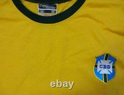 Brésil Pelé Cdb Autographié Jaune Copa Mundo Maillot Manches Courtes Psa / Adn 100330