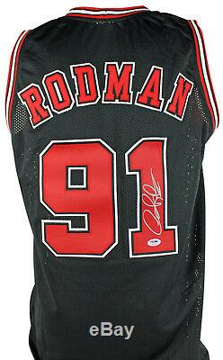 Bulls Dennis Rodman Authentique Signé Jersey Noir Autographié Psa / Adn