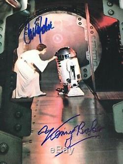 Carrie Fisher / Kenny Baker Signé 11x14 Photo Star Wars Bas Psa / Adn Coa