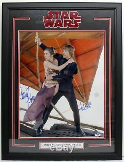 Carrie Fisher Mark Hamill Signé 16x20 Photo Encadrée Star Wars Psa / Adn Y93502