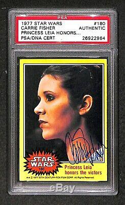 Carrie Fisher Princesse Leia 1977 Topps Signe Autographed Carte Psa / Adn Rookie