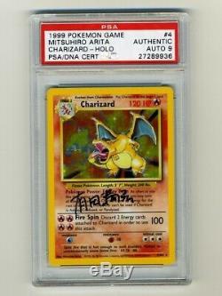 Carte Pokemon Psa / Dna 9 Mint Auto Charizard 1999 Signée Par Mitsuhiro Arita