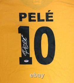 Cbd Brésil Pelé Autographié Jaune Copa Mundo Short Sleeve Jersey Psa/dna 100330