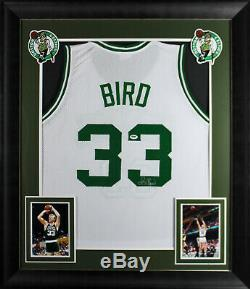 Celtics Larry Bird Authentique Signés Et Encadré Blanc Jersey Autographié Psa / Adn