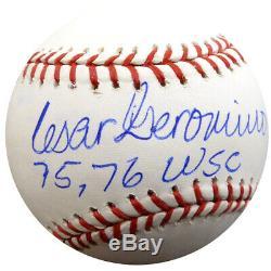 Cesar Geronimo Autographié Signé Lmb Baseball Reds 75, 75 Wsc Psa / Adn 126616