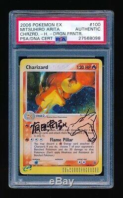 Charizard 2003 Pokemon Holo 100/97 Autograph & Sketch Par Mitsuhiro Arita Psa / Adn