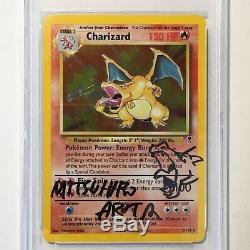 Charizard De Pokemon Psa / Adn Autograph # 3/110 Mitsuhiro Arita Holo Légendaire