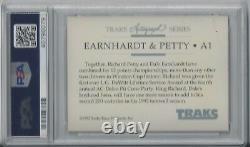 Dale Earnhardt Richard Petty Psa/dna Dual Signé 1992 Traks Carte #a1 Autographié