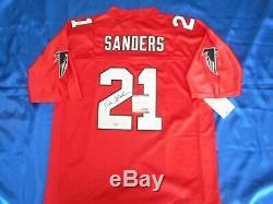 Deion Sanders Signé Autographié NFL Atlanta Falcons Sewn Jersey Psa / Adn Coa