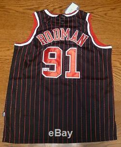 Dennis Rodman Signé Noir Chicago Bulls Jersey Psa / Adn Coa Hof 2011 Worm 52