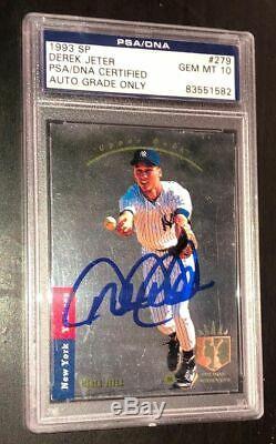 Derek Jeter Signé 1993 Sp Rookie Card Yankees De New York Psa / Adn Gem Mint 10 Auto