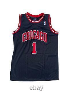 Derrick Rose A Signé Chicago Bulls (home Black) Jersey Psa/adn