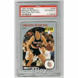 Drazen Petrovic Autographié 1990 Hoops Basketball Nba Rookie Card Psa Adn Coa