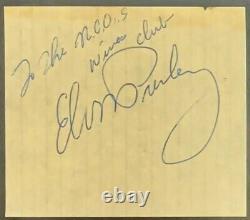 Elvis Presley Autographié Cut Vintage Rock Signé Slabbed Authentifié Psa / Adn