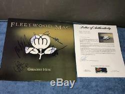 Fleetwood Mac Group Signés Autographié Greatest Hits Album Lp Psa / Dna Loa