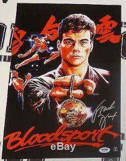 Frank Dux Signé 11x17 Bloodsport Affiche Du Film Psa / Adn Coa Jean-claude Van Damme
