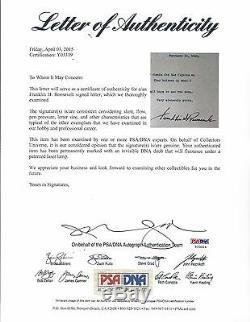 Franklin D. Roosevelt Fdr Signé 1931 Lettre Psa / Dna Certifié Authentique Rare