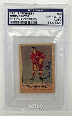 Gordie Howe Signé 1951 Parkhurst Rookie Card # 66 Psa / Adn Auto Red Wings Rc