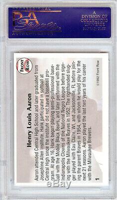 Hank Aaron Autographié Signé Carte 1992 Front Row # 1 Atlanta Braves Psa / Adn 4492
