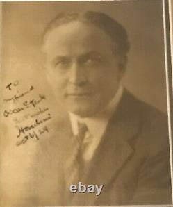 Harry Houdini Signé Rare 1924 Photo Vintage 8x10. Psa / Adn Lettre Pleine Coa