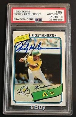 Henderson A Signé Rickey Recrue 1980 # 482 Auto Topps Autographié A De Psa / Adn 10